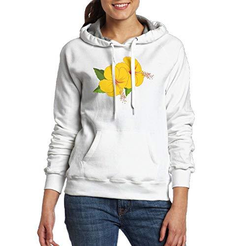 Lamont Rhea Women's Yellow Flowers Fashion Long Sleeve Sweatshirt Pullover Hoodies with Pocket White L