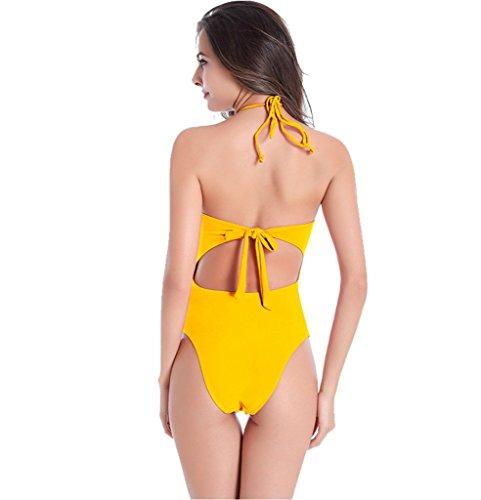 UDreamTime Atractiva de las Señoraes correa del halter de una pieza del traje de baño del traje de baño ropa de playa Amarillo