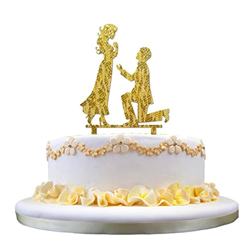Gessppo Wedding Cake Topper Silhouette Bride & Groom Acrylic Wedding (Acrylic Embosser)