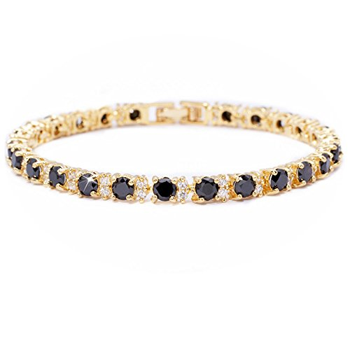 RIZILIA Eternity Tennis Bracelet & Round Cut CZ [Simulated Black Onyx] in Yellow Gold Plated, 7