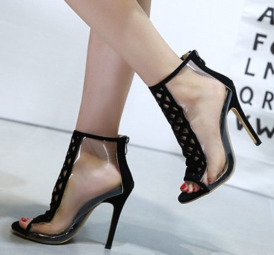 ZHUDJ Fein Mit Sandalen_Catwalk Schuhe Heels Transparent High-Heeled Club Thirty-nine