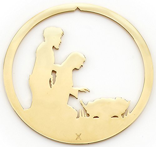 Holy Family Nativity Silhouette Christmas Ornament by Valerie Atkisson, 24K Gold Plated ()