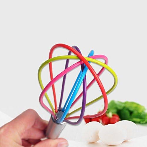 JJDN 10-Zoll-Regenbogen-Ballon-Schnurrbart mit Edelstahl-Griff Nicht-Stick Silikon Ei Schläger