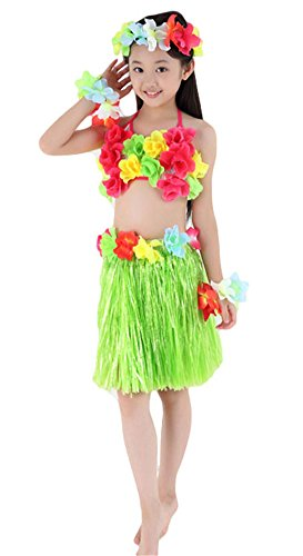 Dance Costumes Model (Fighting to Achieve Hawaiian Hula Dance Costume 5pcs For Girls)