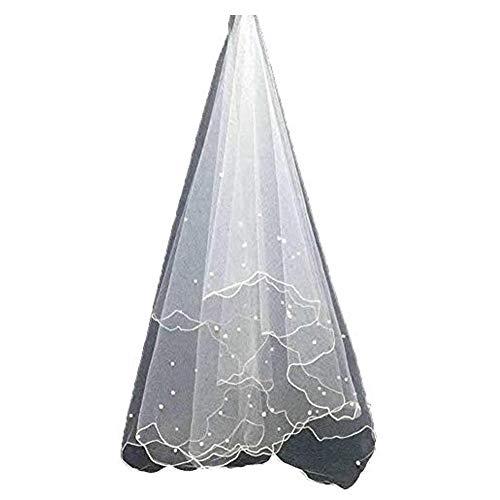 (XSWPL 3 Layer White Wedding Bridal Veil with Pearls Ribbon Edge (Style 1 Ivory))