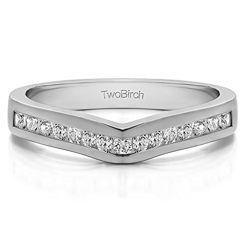 Diamonds (G-H,I2-I3) Contour Wedding Ring In Sterling Silver(0.5Ct)Size 3 To 15 in 1/4 Size Interval by TwoBirch