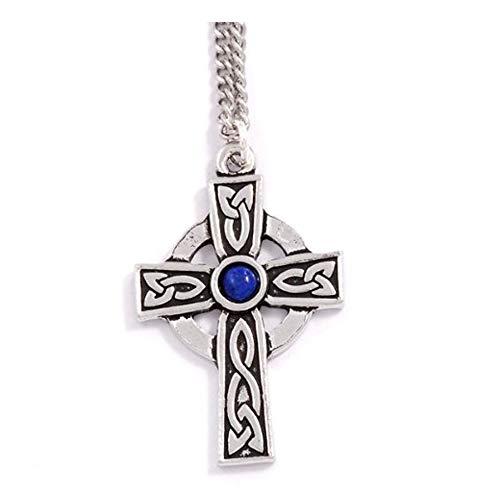 St Justin, Pewter St Petroc Cross Necklet - 18 Inch Curb Chain - Lapis Lazuli