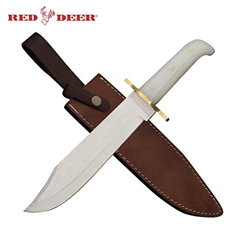 (17 Inch Red Deer Bowie Knife Wooden Handle with Real Leather Sheath)