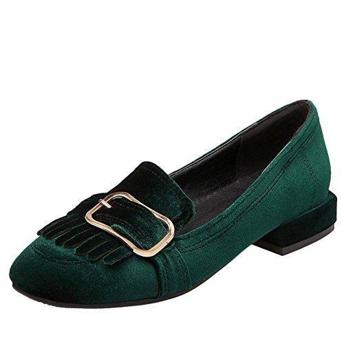 Mocassini Da Donna Con Fibbia Quadrata Carolbar, Scarpe Con Tacco Basso, Scarpe Verdi