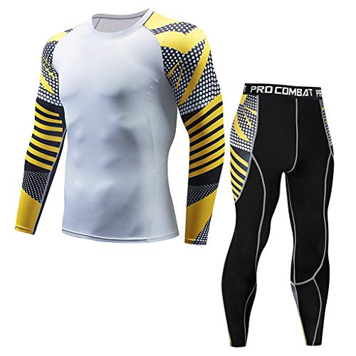 Men's Casual Fitness T-Shirt Fast Drying Elastic Tops Pants Sports Tight -