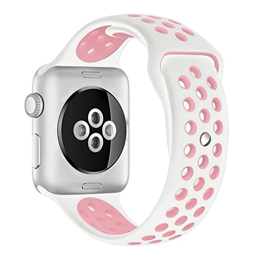 Apple Watch Silicone Replacement Band, Sport Edition by Pantheon,Strap fits the 38mm Apple Watch 1, 2, and Nike edition (White and Light Pink, 38mm)
