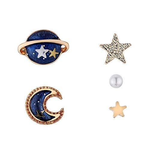 Nuwastone womens Moon & Stars & Planet Earring Set (Blue earing)