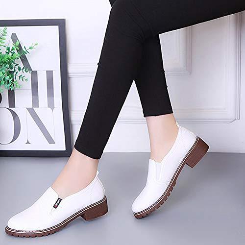 Plate wealsex Chaussure Bureau de Cuir Ville Brogues Basse Blanc Décontracté Derbies Baskets Femme Chaussures Mocassin AqrBXA