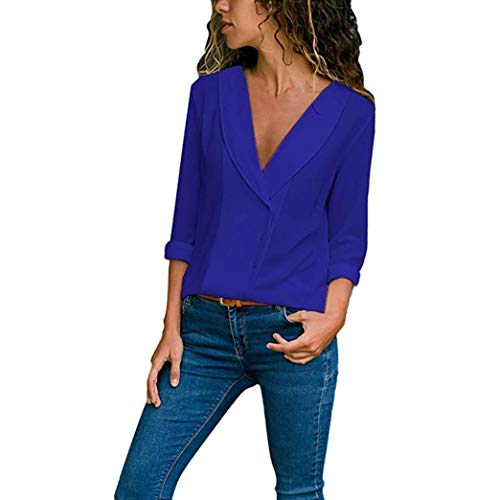 (NEARTIME Women T-Shirts,Casual Solid Color Tops Roll Long Sleeve V-Neck Button Blouse Casual Elegant Shirts)