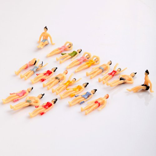 Kingzer 20pcs OO Scale Painted Model Beach People Figures(1:75)