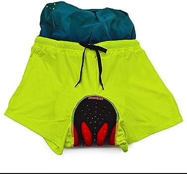 WOSAWE Mens MTB Cycling Padded Shorts Silicone Gel Padded Mesh Liner Bike Shorts