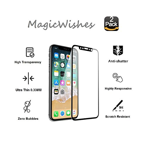 iPhone X Screen Protector [2 Packs] MagicWishes Full Coverage Ultra Thin Tempered Glass Curved Edge Black 9H Hardness Anti Scratch High Sensitivity