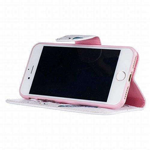 LEMORRY Apple iPhone 7 Custodia Pelle Cuoio Flip Portafoglio Borsa Sottile Fit Bumper Protettivo Magnetico Chiusura Standing Card Slot Morbido Silicone TPU Case Cover Custodia per iPhone 7, Farfalla S