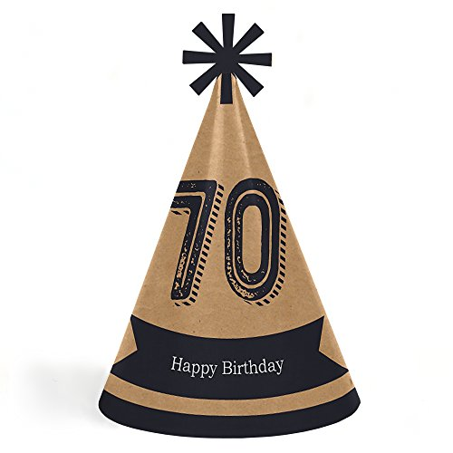 70th Milestone Birthday - Dashingly Aged to Perfection - Cone Happy Birthday Party Hats for Kids and Adults - Set of 8 (Standard Size) by Big Dot of Happiness