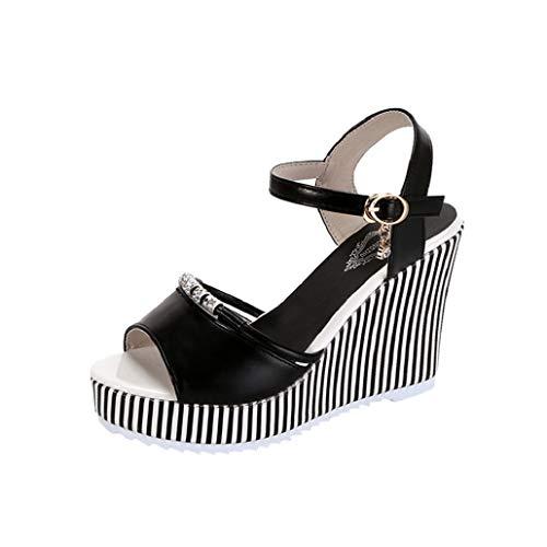 Photno Women Fish Mouth Rhinestone Platform High Heels Sandals Buckle Slope Sandals Black