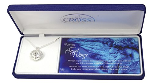 [Dicksons Silver Plated Bereavement Between These Angel Wings Photo Locket Necklace on 18