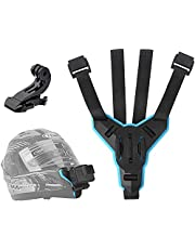 TELESIN Motorcycle Helmet Strap Mount Front Chin Mount for GoPro Hero 2018/6/5/4/3, Session, SJCAM, AKASO, Campark, Polaroid, YI Action Camera Helmet Mount Curved