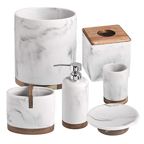(Shireen Home Suzie White Quartz Marble with Acacia Wood Bathroom Accessory Complete Set of 6 Collection.Soap Dispenser,Tumbler,Toothbrush Holder,Soap Dish,Tissue Cover,Trash Can)