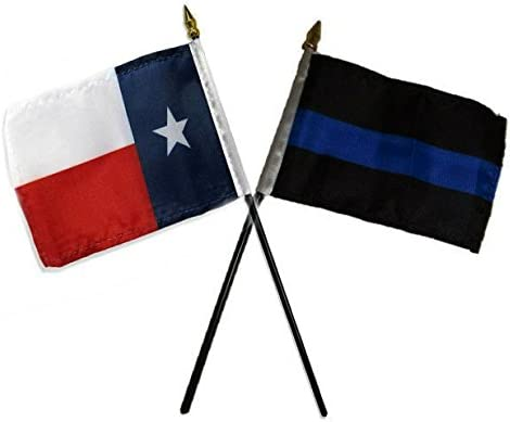 AES State of Texas w//Police Blue Line Flags 4x6 Desk Set Table Black Base Vivid Color and UV Fade Resistant Canvas Header and Polyester Material