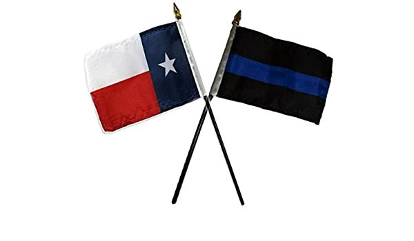 "State of Texas w// Police Blue Line Flags 4/""x6/"" Desk Set Table Black Base"