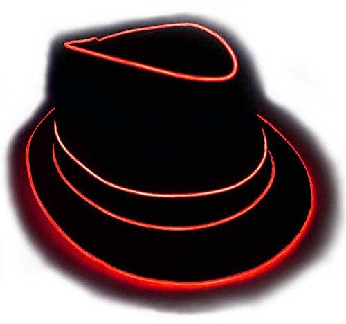 GlowCity Light Up Fedora Hat LG Red