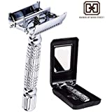Double Edge Butterfly Safety Razor with Premium Stainless Steel Chrome Plate Alloy by Harris Includes Shaver and Mirrored Travel Case