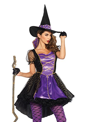 Leg Avenue Women's Crafty Vixen Witch Costume, Black/Purple, (Crafty Halloween Costumes For Adults)