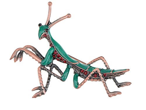 Ruby Brooch Pendant - Alilang Copper Tone Ruby Red Colored Rhinestones Green Mantis Insect Brooch Pin