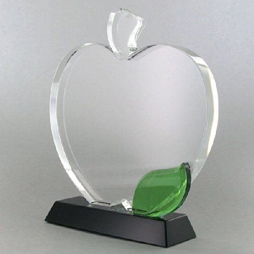 6 1/2 Inch Apple Shape Optical Crystal Trophy, includes Personalization