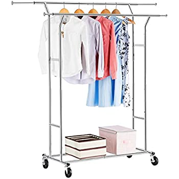 amazonbasics double rail garment rack chrome. Black Bedroom Furniture Sets. Home Design Ideas