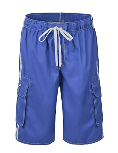 Hopgo Men's Quick Dry Beach Short Solid Color Boardshorts Swim Trunks 34 Royal Blue&White