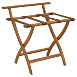 Unique Wooden Mallet Wall Saver Contour Leg Luggage Rack with Backing (Light Oak)