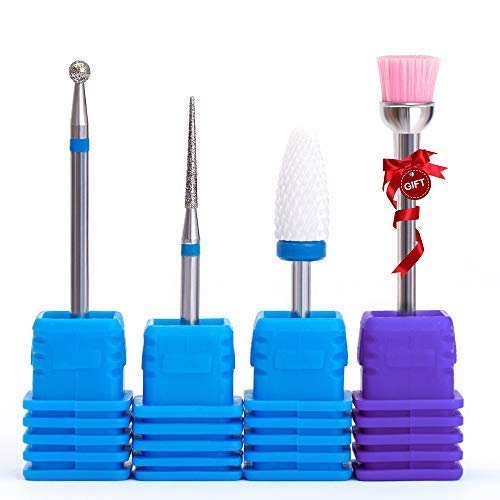Cuticle Clean Nail Drill Bits set with Medium Ceramic Nail Bits for Nail Drill Gel False Nail Remove 4 pieces Drill Bits Kit with Gift Brush- NATPLUS