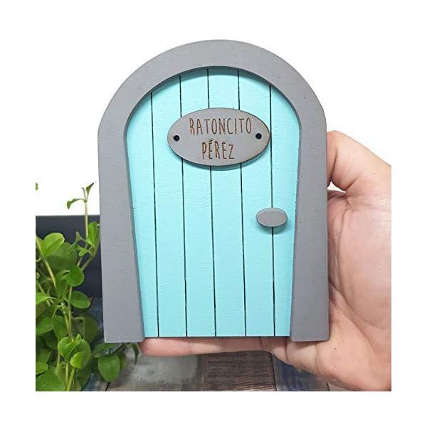 Puerta Ratoncito Pérez azul de madera,con escalera,buzón y certificado. Producto artesanal hecho en España 6