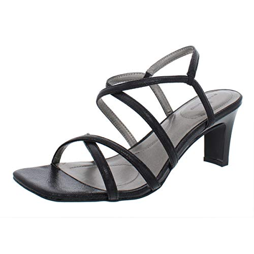 - Bandolino Women's OBEXX Heeled Sandal, Black Lizard, 9 M US