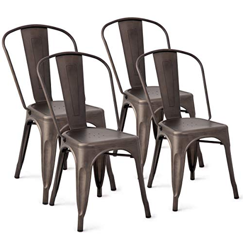 AK Energy 4PCs Tolix Style Dining Side Chair Stackable Conference Party Bistro Cafe Chic Metal Copper