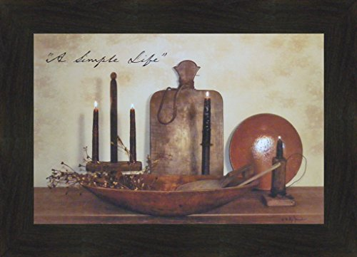 Home Cabin Décor A Simple Life by Billy Jacobs 16x22 Wood Bowls Candles Cutting Board Primitive Kitchen Implements Country Photography Folk Art Print Framed Picture (2