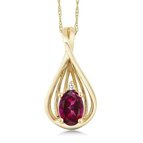 10K Yellow Gold Diamond Teardrop Pendant Set with Blazing Red Topaz from Swarovski