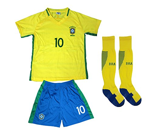 BRAZIL NEYMAR JR #10 Home Football Soccer Kids Jersey Short Socks Set Youth Sizes (8-9 YEARS)