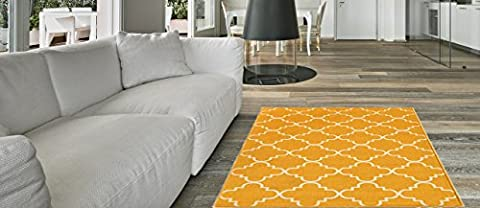 Anti-Bacterial Rubber Back AREA RUGS Non-Skid/Slip 3x5 Floor Rug | Yellow Trellis Indoor/Outdoor Thin Low Profile Living Room Kitchen Hallways Home Decorative Traditional (Yellow Grey Blue Area Rug)