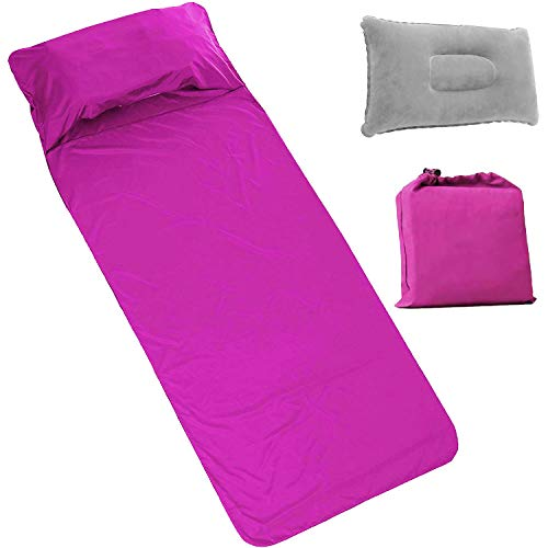 Travel Sleeping Bag Liner, Outdoor Camping Sheet with Inflatable Pillow & Pump, Lightweight Soft Sleep Sack Liner for Hotel Hiking Trains Planes Trip