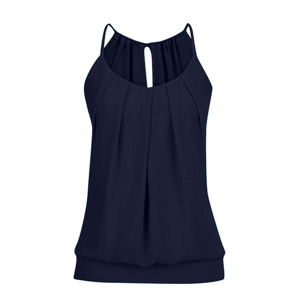 iLUGU Women Summer Loose Wrinkled Scoop Neck O Neck Sleeveless Cami Fur Vest Tank Top Blouse Navy