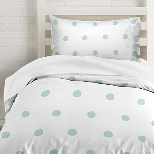 Seafoam Green Polka Dot Duvet Cover Twin Size Bedding, Soft and Wrinkle Free, White and Mint 2 Piece Set (And Duvet Green Cover White)