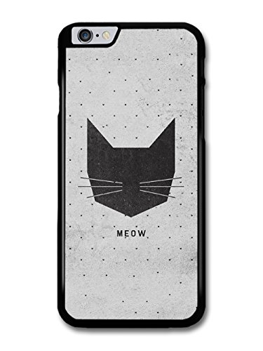 Meow Black Cat Head on Grey Polkadot Background case for iPhone 6 Plus 6S Plus