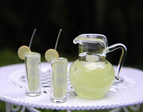 Miniature Dollhouse Fairy Garden Lemonade Pitcher With 2 Glasses ()